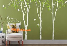 wall decal Vinyl Wall Decal Nature Design Tree Wall Decals chrildrens wall decals Wallstickers Tree with birds wall decal :in the forest