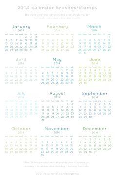 2014 calendar set photo templates + brushes/stamps => tracy-larsen.com/blog/shop