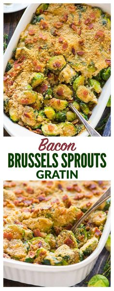An easy, healthy recipe for Cheesy Brussels Sprouts Gratin with Gruyere, Bacon, and Crispy Breadcrumb Topping. TO DIE FOR! Everyone loves this cheesy brussel sprout casserole recipe! Great for Christmas, Thanksgiving, or anytime you need a crowd-pleasing side dish. #gratin #brusselsprout #easy #healthy