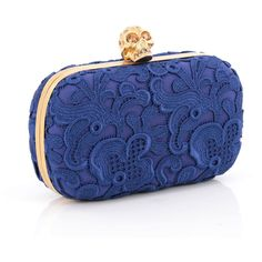 Skull Box Clutch Floral Lace Small (6.185 DKK) ❤ liked on Polyvore featuring bags, handbags, clutches, skull purse, blue evening purse, floral clutches, skull clutches and royal blue handbag