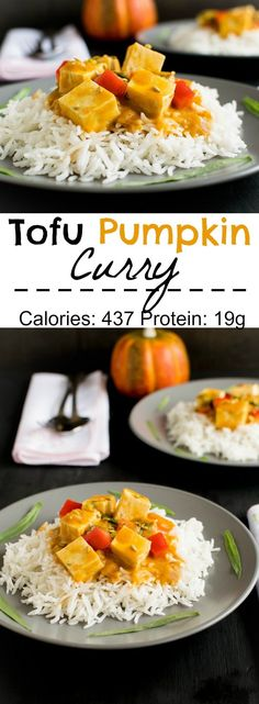 This Tofu Pumpkin Curry is a comforting Fall meal. Its is vegan, gluten free and yet protein rich. It has all the wonderful fall flavors is a one pot family dinner | kiipfit.com