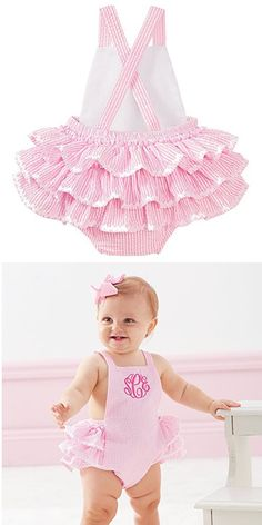 Jumpsuits For Girls, Girls Rompers, Baby Girl Romper, Baby Girls, Mud Pie Clothing, Mud Pie Baby, Crochet Baby Bonnet, Baby Girl Dress Patterns, Cute Baby Clothes