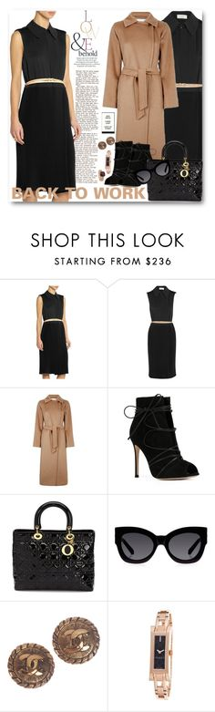 """BACK TO WORK"" by purplerose27 ❤ liked on Polyvore featuring ASOS, Victoria Beckham, MaxMara, Gianvito Rossi, Christian Dior, Karen Walker, Chanel, Gucci and Effy Jewelry"