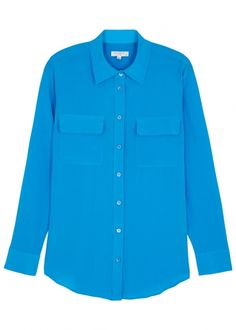 Equipment Bright blue silk crepe de chine blouse - Harvey Nichols