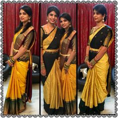 Yellow and black sarees