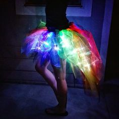Light Up Rainbow and Black Tapered Bustle Tutu Skirt in Organza with 60 LEDs for costume / concert / rave / party / display / burning man Fete Halloween, Halloween 2016, Party Unicorn, Dark Unicorn Costume, Halloween Unicorn, Unicorn Fancy Dress, Christmas Unicorn, Unicorn Outfit, Minecraft Decoration