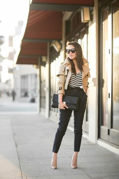 Top :: Burberry cropped trench, J.Crew top  Bottom :: Burberry  Shoes :: Christian Louboutin   Bag :: Chloe.