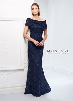 87835443a16 Ivonne D Exclusively For Mon Cheri 215D03 - Lace fit and flare gown with  short sleeves