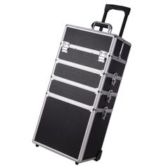 Free Shipping. Buy 4in1 Black Aluminum Rolling Wheel Makeup Train Case Professional Artist Cosmetic Outdoor Box Organizer at Walmart.com