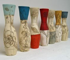 Diana Fayt - ceramics; I love the red-topped one in the center.