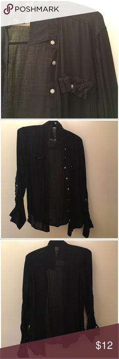 Thin navy blue button up Thin navy blue button up Aeropostale Tops Blouses