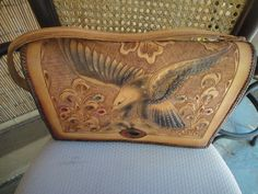 Vintage tooled leather bag with Eagle and flowers by MilliesAttique on Etsy