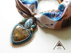 Beaded embroidery pendant turquoise necklace agate jasper collar colgante bead embroidery jewelry beadwork  scarf pendant heart pendant by LoraViBeadJewelry on Etsy https://www.etsy.com/listing/251802641/beaded-embroidery-pendant-turquoise