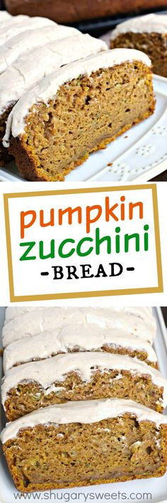 Pumpkin Zucchini Bread is an incredibly moist, flavorful treat topped with a cinnamon cream cheese frosting! Makes TWO freezer friendly loaves!
