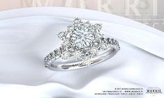 White Solid Gold Ring Diamond Halo Setting 0.50ct Engagement