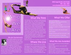 Sample dance studio brochure on purple background