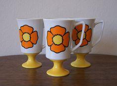 "Trio of Collectible Orange & Yellow Pedestal style mugs by JSC. ""Esprit"" design"