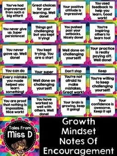 ncourage a Growth Mindset in your classroom with these bright and colourful notes of encouragement. There are a total of 40 notes, which can be printed, laminated and handed to students.