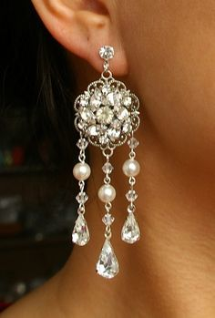 Vintage Inspired Bridal Chandelier Earrings Long by luxedeluxe, $88.00