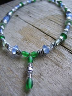 Sky Blue Kelly Green Frosted Glass Bead Choker by FindingCharm, $20.00