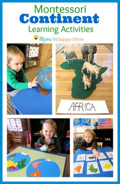 Enjoy Montessori continent learning activities that include the sandpaper globe, colored globe, 3-part cards, song, continent map, and extension exercises.