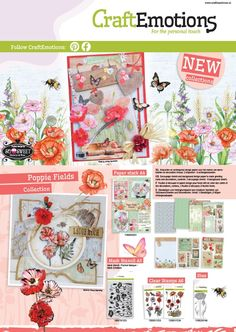 Leaflet CraftEmotions - Cover with new Poppie Fields collection - Introduction February 2016. Papers, stamps, mask, and die set.