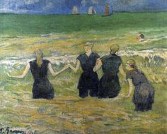 Paul Gauguin - Post Impressionism - Les baigneuses à Dieppe - Bathing Beauties in Dieppe- 1885
