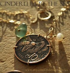 Items similar to Coin Jewelry, Genuine Sea Glass Jewelry, Genuine Italian Seaglass & Antique Italian Coin Handmade Necklace. Bee Coin on Etsy Real Gold Jewelry, Coin Jewelry, Coin Necklace, Gold Filled Jewelry, Sea Glass Jewelry, Glass Beads, Jewlery, Vintage Italian, Handmade Necklaces