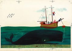 """""""Tale of an Ailing Whale"""" Illustration by Paul Hartley, 1959    Original gouache on illustration board for  WALT DISNEY MAGAZINE"""