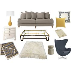 So many things about this room that I like: grey sofa, plush rug, glam glass coffee table and very mod chair.