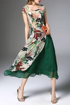 K.y Green High Slit Flower Print Midi Dress With Skirt | Midi Dresses at DEZZAL