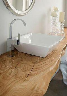 Bathroom Decor countertop 13 Wood Bathroom Countertop Ideas Youll Want to Steal Bathroom Countertops, Wood Sink, Wood Bathroom, Bathroom Interior, Bathroom Decor, Trendy Bathroom, Sink Countertop, Tile Bathroom, Sink