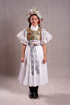 Zvolenská Slatina - Podpoľanie . Slovakia Ethnic Outfits, Ethnic Clothes, Folklore, Folk Costume, Costumes, Kids Around The World, Traditional Outfits, Harajuku, Culture