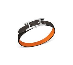 "Hermes reversible leather bracelet (size S) Charcoal sombrero calfskin/orange swift calfskin  Palladium plated hardware, 7.75"" long, 0.5"" wide, 6.7"" circumference."