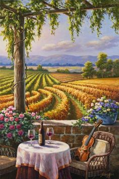 Sung Kim - Vineyard and Violin - art prints and posters
