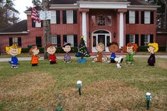 well its never boring around here charlie brown christmas yard art i am going to make these