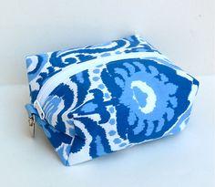 Blue White Ikat Boxy Pouch Cosmetic Bag Makeup by nangatesdesigns