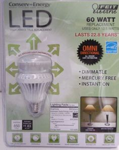 60W LED DIMMABLE FEIT OMNI DIRECTIONAL INSTANT ON LED BULB 850 LUMENS +22yrs B19 #FeitElectric
