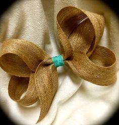 SHIMMER Burlap Hair BowNatural by beautifulChaos101 on Etsy
