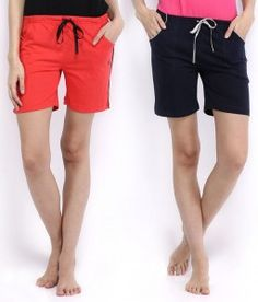 DREAM BERRY Navy Cotton Short Regular Shorts Combo Of 2 Shorts