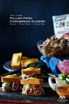 Slow Cooker Pulled Pork Cornbread Sliders with Avocado, Pickled Onions ...