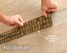 Learn expert tips for installing porcelain, glass and other modern tiles and materials. Handyman Projects, Garage Remodel, Home Fix, Diy Home Repair, Diy House Projects, Tile Installation, Home Repairs, Diy Cabinets, The Ranch