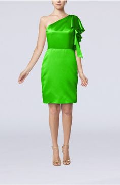 Classic Green Party Dress - Modern One Shoulder Zip up Elastic Woven Satin Ruffles