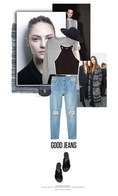 """Get the Look: High-Waisted Jeans"" by juhh ❤ liked on Polyvore"