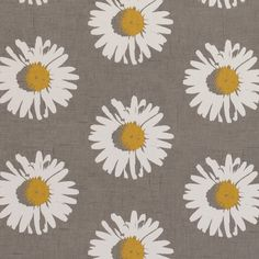 Yellow Grey Upholstery Fabric  Modern Floral by PopDecorFabrics