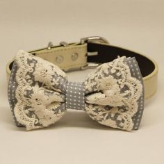 Gray Lace dog bow tie collar, Lace, Polka dots, Country Rustic wedding