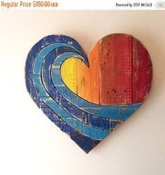 ON SALE Wave Rainbow Pallet Wood Heart woodart wall by AlmaBoheme