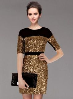 black and gold sequined blocked dress