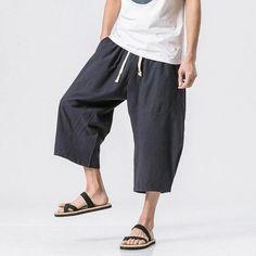 New Summer Harem Pants Men Linen Cotton Trousers Flax Summer Linen Calf Length Pants Elastic Waist Size Harem Pants Men, Mens Jogger Pants, Men's Pants, Cropped Pants, Hiphop, Style Hip Hop, Types Of Shorts, Drop Crotch, Linen Pants