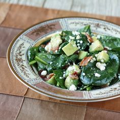 Spinach Salad with Bacon, Feta Cheese, and Avocado | Winner Dinners